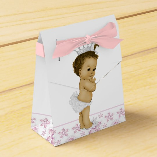 Pink African American Baby Girl Shower Favour Wedding Favour Box