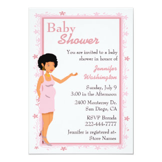 Pink African American Baby Shower Invitation