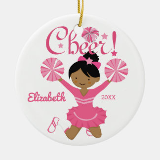 Pink African American Cheerleader Ornament