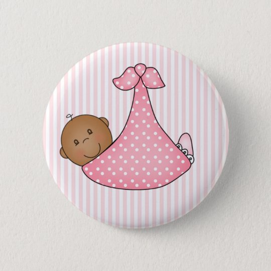 Pink African American Girl in Blanket 6 Cm Round Badge