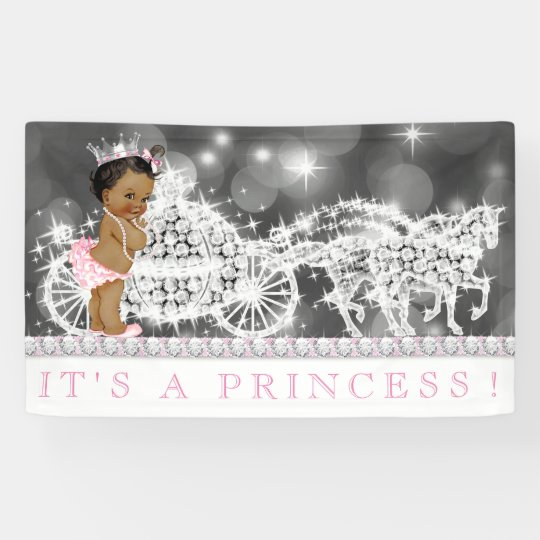 Pink African American Princess Baby Shower Banner