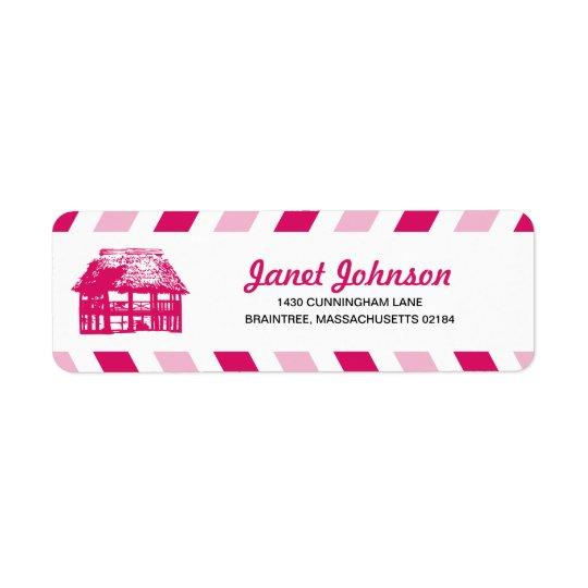 Pink Airmail Beach Hut RETURN ADDRESS Mailing
