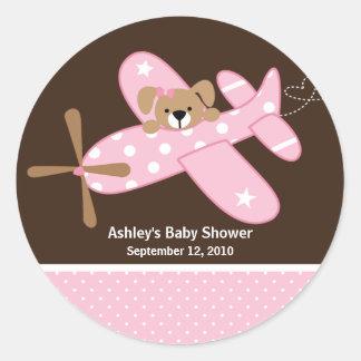 Pink Airplane Baby Shower Sticker