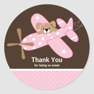 Pink Airplane Thank You Baby Shower Sticker