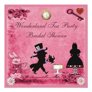 Pink Alice in Wonderland Tea Party Bridal Shower 13 Cm X 13 Cm Square Invitation Card