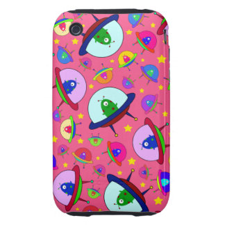 Pink alien spaceship pattern iPhone 3 tough cover