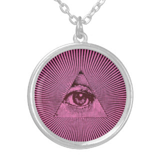 Pink All Seeing Eye Round Pendant Necklace