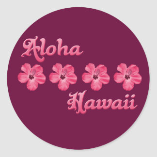 Pink Aloha Hawaii Classic Round Sticker