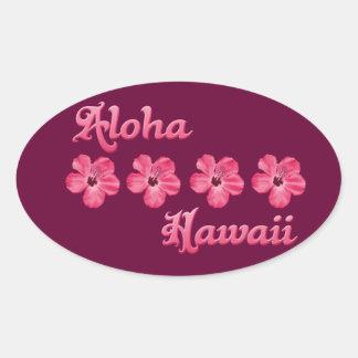 Pink Aloha Hawaii Oval Sticker