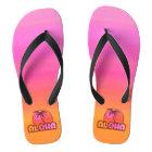 Pink Aloha Palm Flip Flops