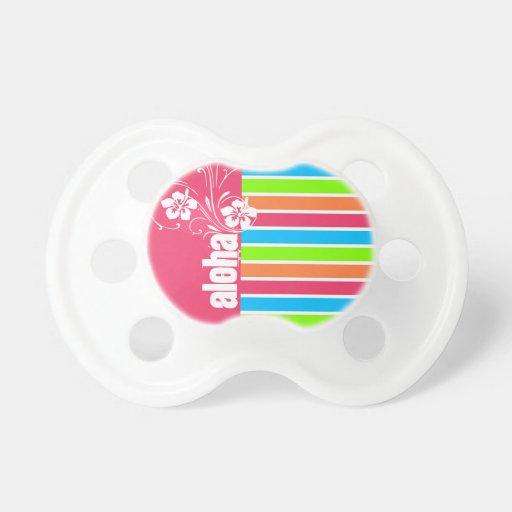 Pink Aloha; Retro Neon Rainbow Baby Pacifier