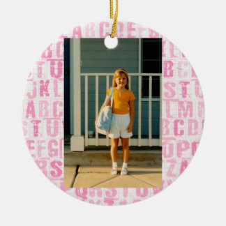 Pink Alphabet First Day of School or All Occasion Christmas Ornament