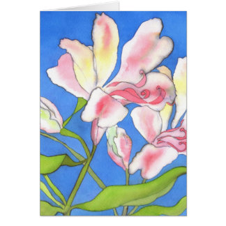 Pink Alstroemeria Greetings Card
