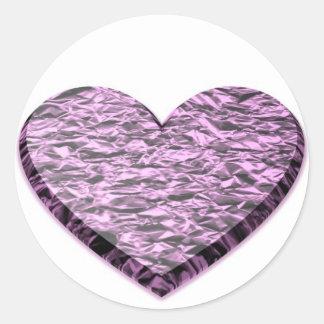 Pink Aluminum Foil Heart Sticker