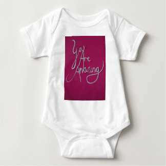 pink amazing paper cut white baby bodysuit