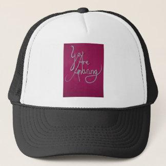 pink amazing paper cut white trucker hat
