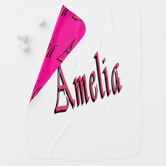 Pink Amelia Girls Name Logo Baby Blanket