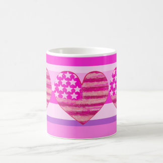 pink american flag,heart coffee mug