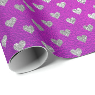 Pink Amethyst Vivid Purple Glass Silver Hearts Wrapping Paper