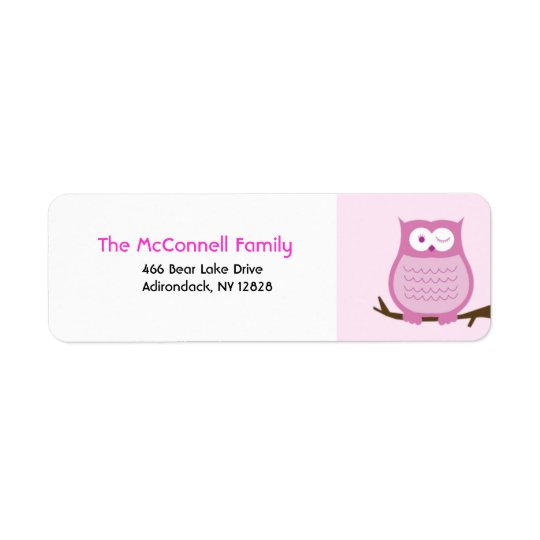 PINK AMORE OWL PRINTABLE ADDRESS LABELS