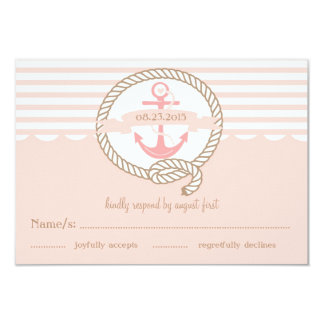 Pink Anchor and Nautical Stripes RSVP Card 9 Cm X 13 Cm Invitation Card