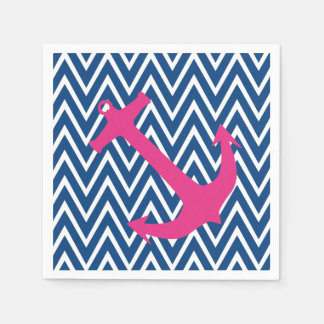 Pink Anchor & Blue Chevron Zigzag Pattern Napkins Disposable Napkin
