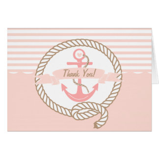Pink Anchor | Nautical Thank You Card