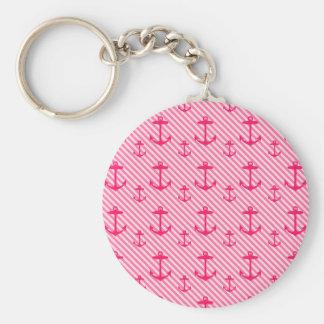 Pink Anchor Pattern Keychain