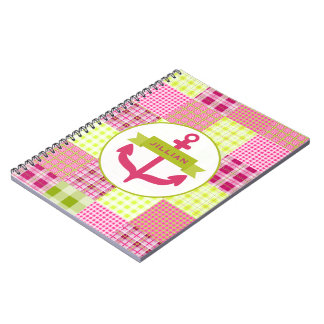 Pink Anchor & Plaid Notebook