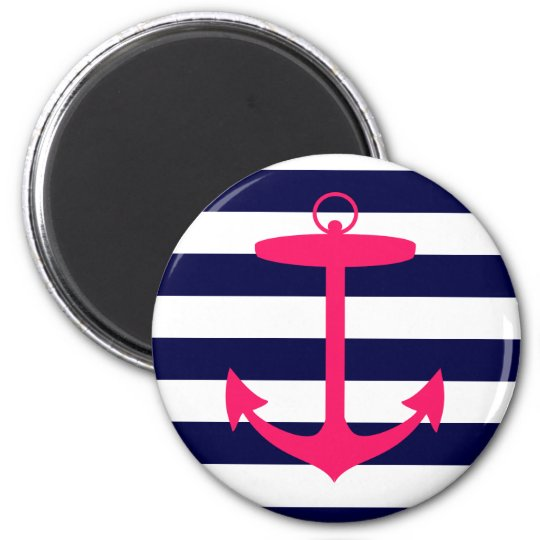 Pink Anchor Silhouette 6 Cm Round Magnet