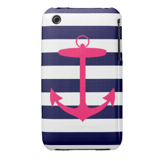 Pink Anchor Silhouette Case-Mate iPhone 3 Cases