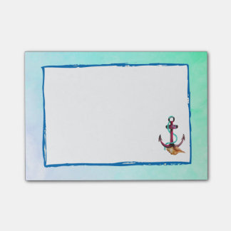Pink Anchor With Rope And Seashells In Watercolor Post-it Notes