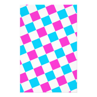 Pink and Aqua Checkerboard Stationery