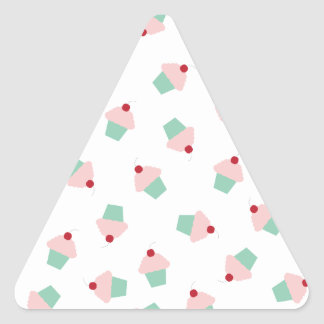 Pink and Aqua Cupcakes with Cherries Triangle Sticker