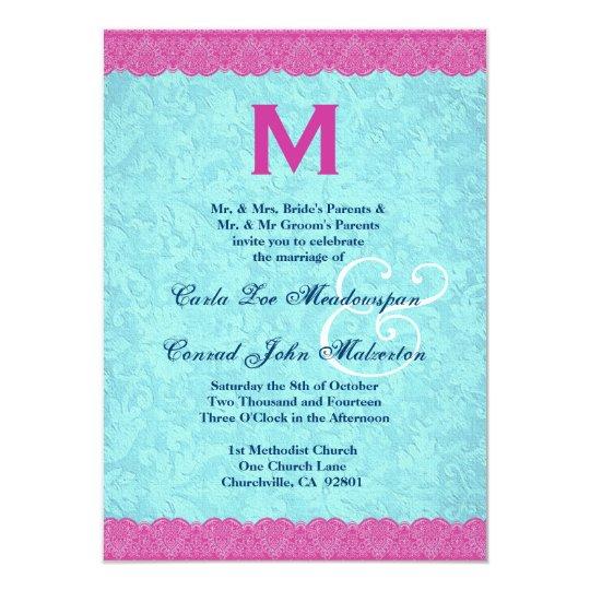 Pink and Aqua Lace Monogram Wedding F585 Card