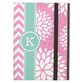 Pink and Aqua Monogram Chevron and Floral iPad Air Covers