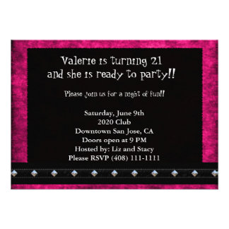 Pink and Black 21st Birthday Invitation