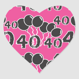PINK and BLACK 40th Birthday Heart Stickers