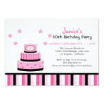 Pink and Black 50th Birthday Cake Party Invitation