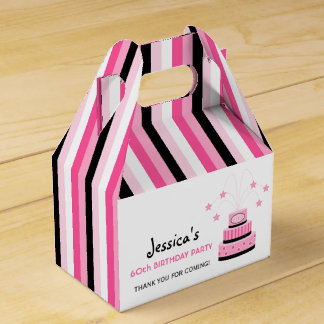Pink and Black 60th Birthday Cake Party Favor Box