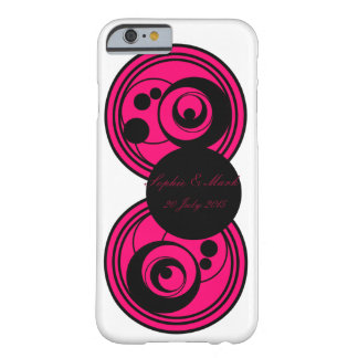 Pink and black abstract circles monogram phone/c barely there iPhone 6 case