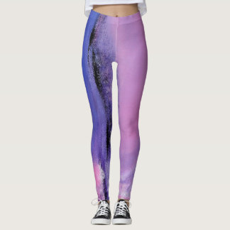 Pink and Black Abstract Dance Leggings