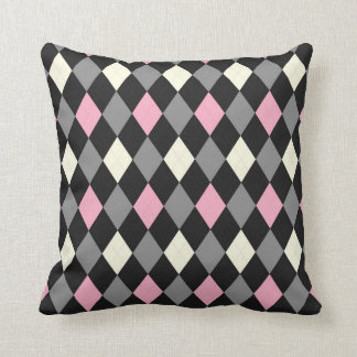 Pink and Black Argyle Cushion