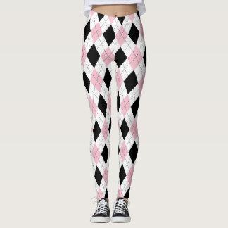 pink and black argyle pattern leggings