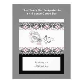 Pink and Black Baby Shower Candy Bar Wrapper 21.5 Cm X 28 Cm Flyer