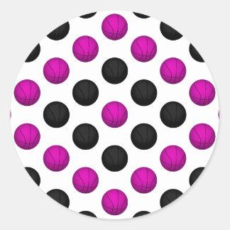 Pink and Black Basketball Pattern Sticker