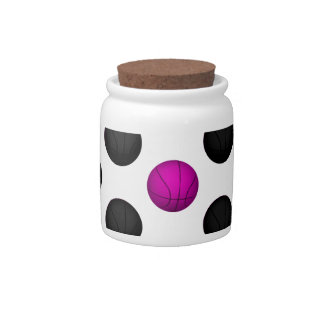 Pink and Black Basketball Pattern Candy Jar