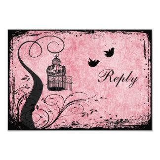Pink and Black Birdcage Lovebirds Reply Card 9 Cm X 13 Cm Invitation Card