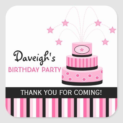 Pink and Black Birthday Cake Party Favor Stickers