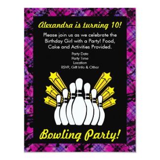 Pink and Black Bowling Birthday Party Invitation